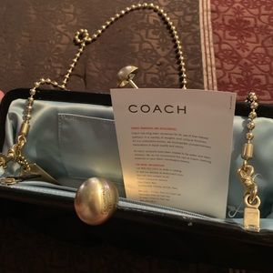 Black Satin Couch Clutch with Chain NWOT